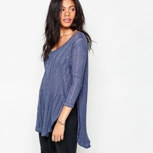 NWOT Free People Astoria Hacci Split Hem Tee